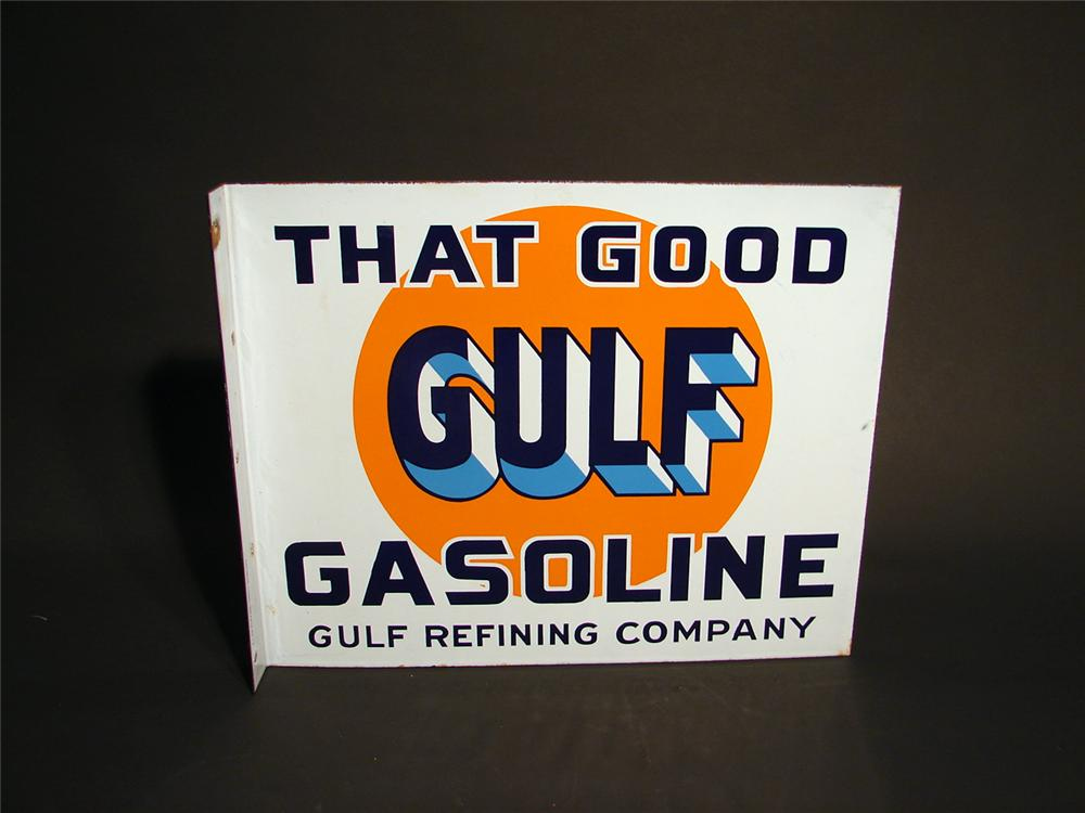 Very nice 1930s Good Gulf Gasoline double-sided porcelain garage flange sign. - Front 3/4 - 50657