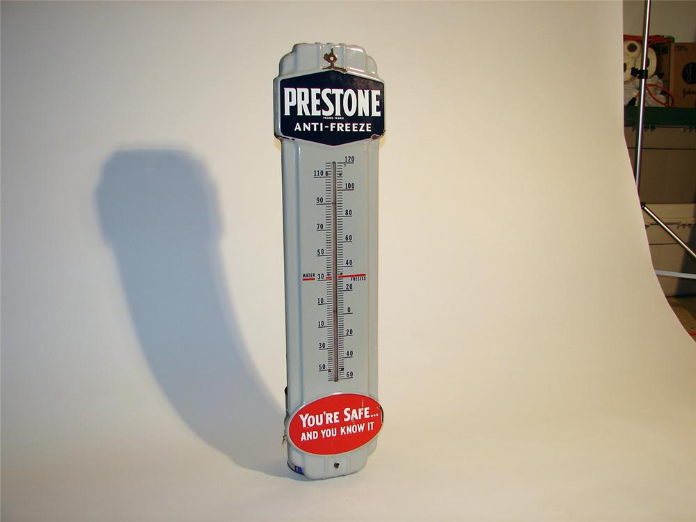 Choice 1950s Prestone Anti-Freeze porcelain station thermometer. - Front 3/4 - 50712