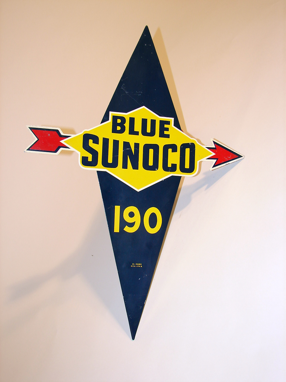 1950s Blue Sunoco 190 single-sided tin pump plate sign. - Front 3/4 - 50715