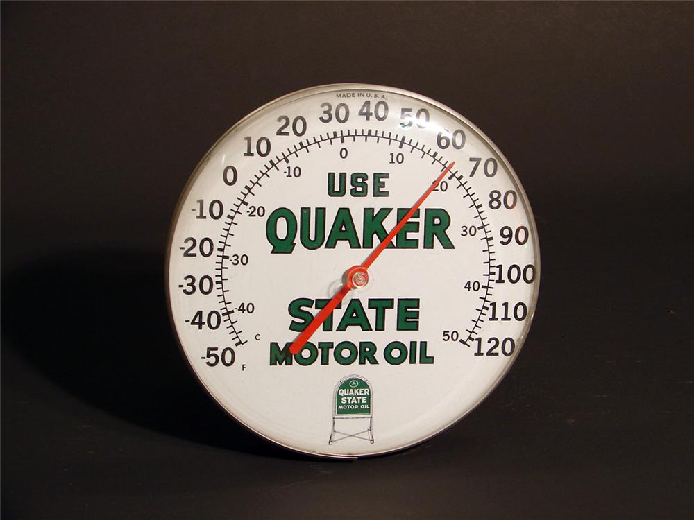 Sharp Quaker State Motor Oil dial faced garage thermometer. - Front 3/4 - 50717