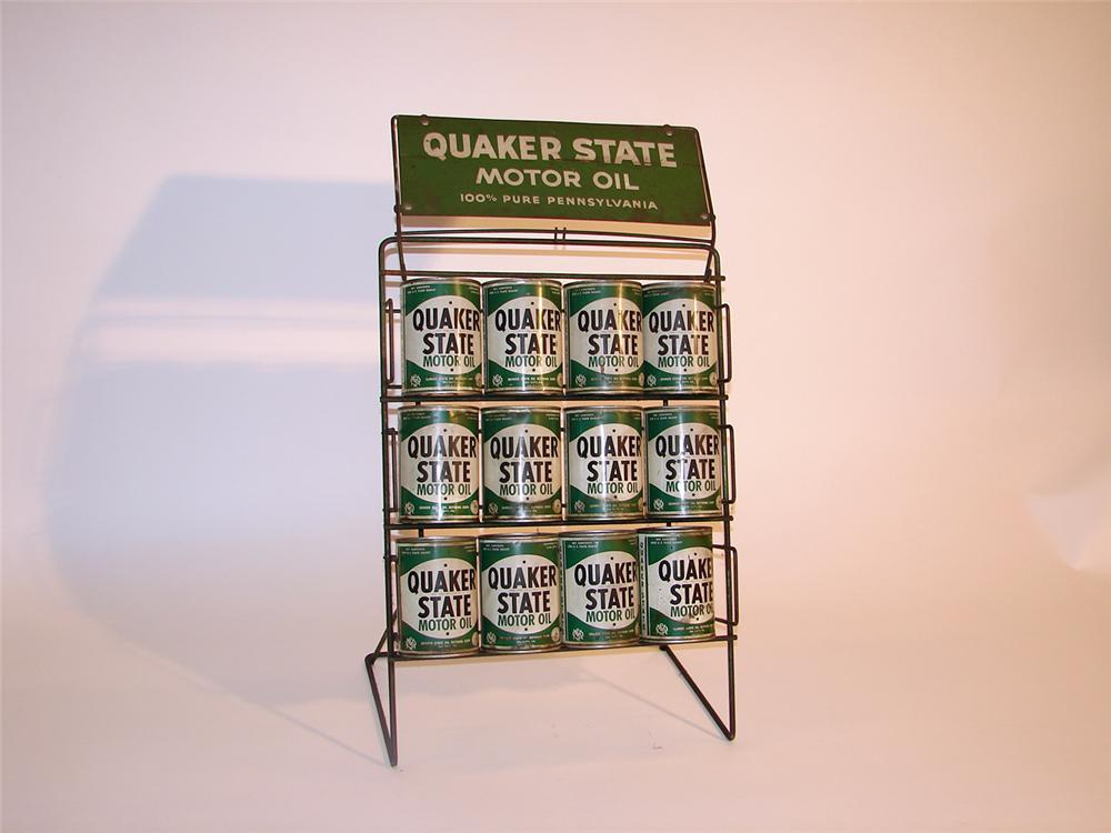 1950s Quaker State Motor Oil display rack complete with 12 metal quart cans. - Front 3/4 - 50720