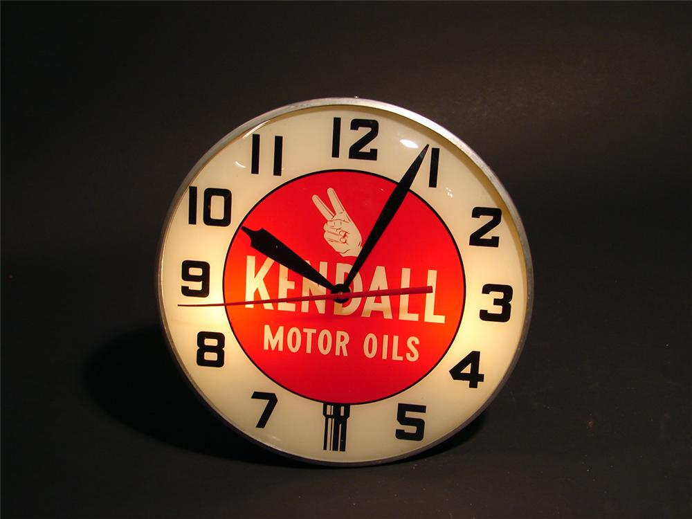 Sharp circa 1950s Kendall Motor Oils light-up garage clock. - Front 3/4 - 50722