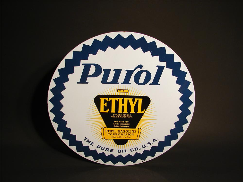 N.O.S. 1930s Purol with Ethyl double-sided porcelain station sign. - Front 3/4 - 50725