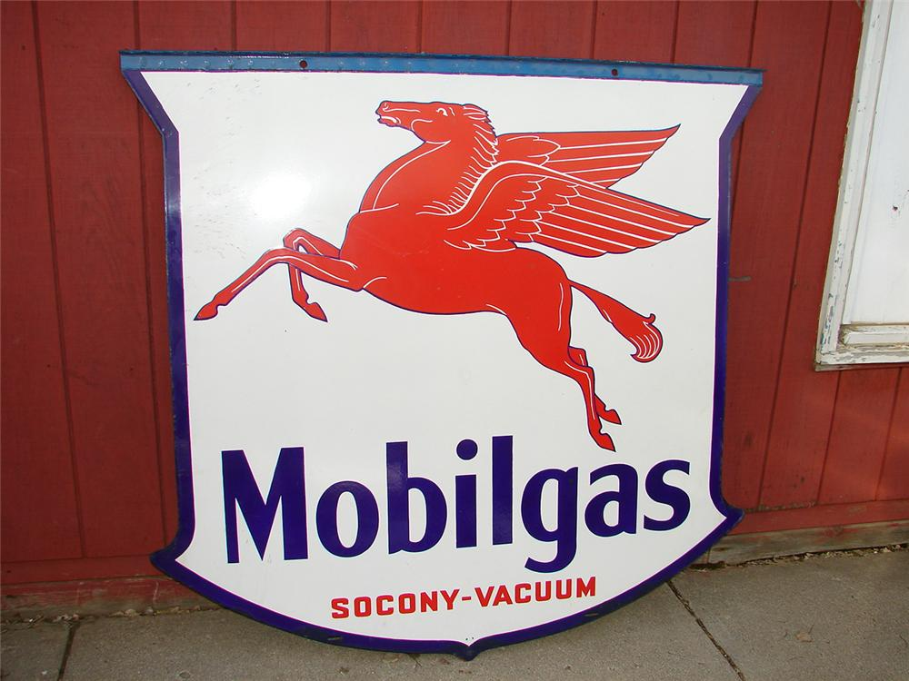 Large 1939 Mobilgas Station double-sided porcelain station sign. - Front 3/4 - 50726