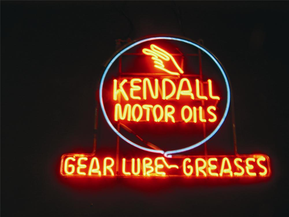 Incredible 1930s Kendall Motor Oils Gear Lubes and Greases dealership window neon. - Front 3/4 - 50736
