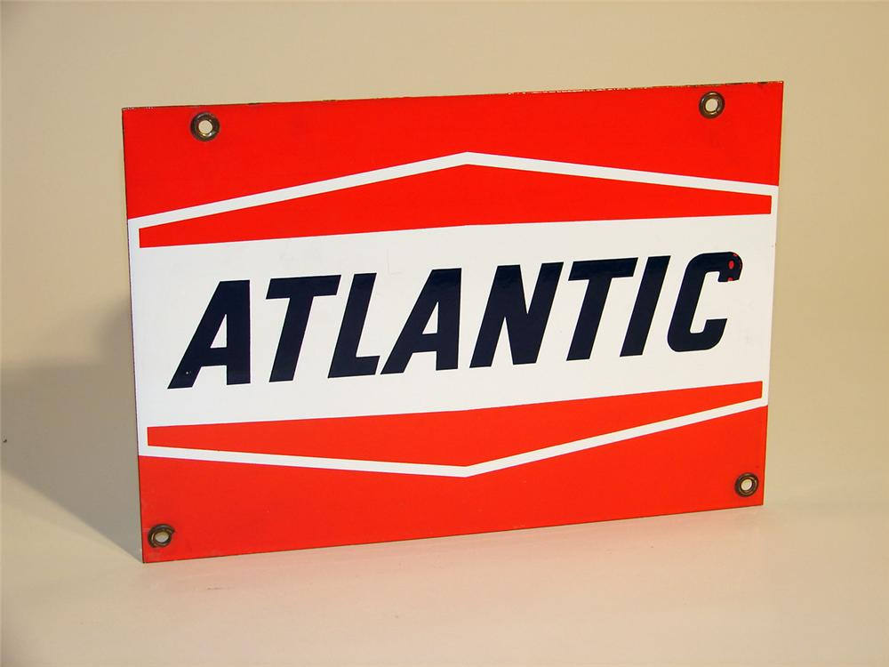 N.O.S. Atlantic Gasoline porcelain pump plate sign. - Front 3/4 - 50740