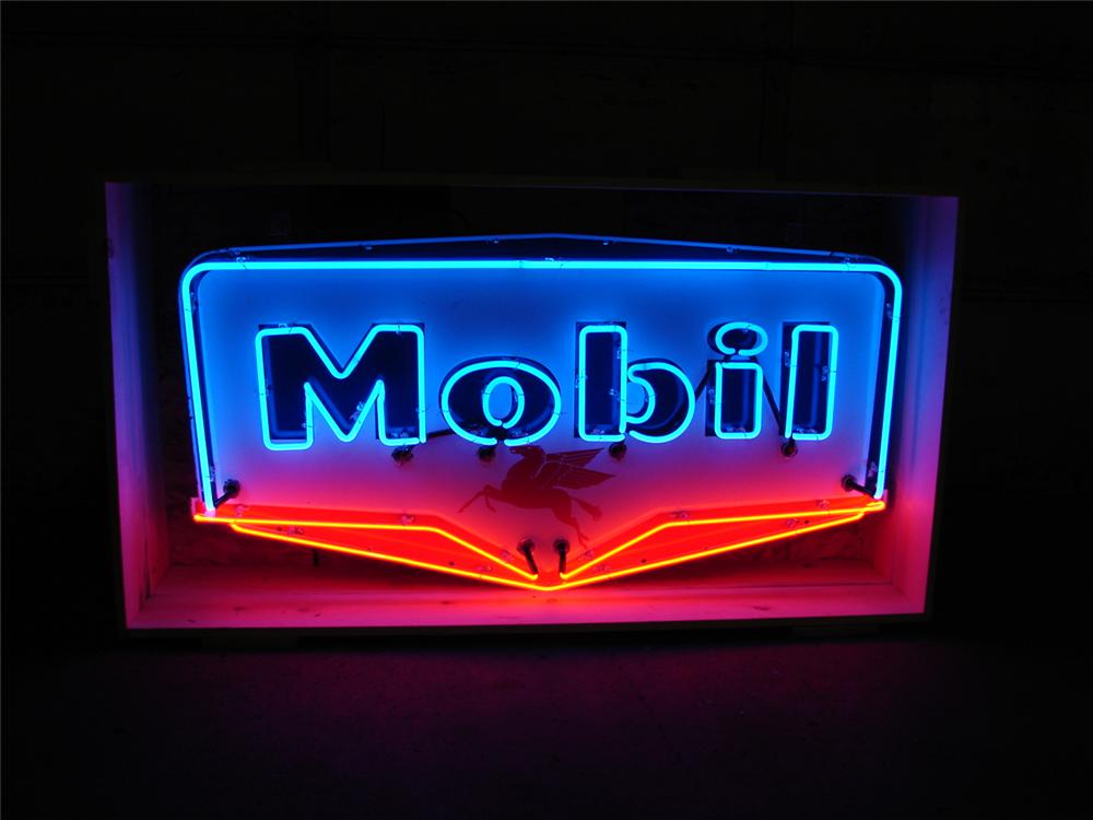 Outstanding late 50s Mobil Oil single-sided porcelain with neon station sign. - Front 3/4 - 50741