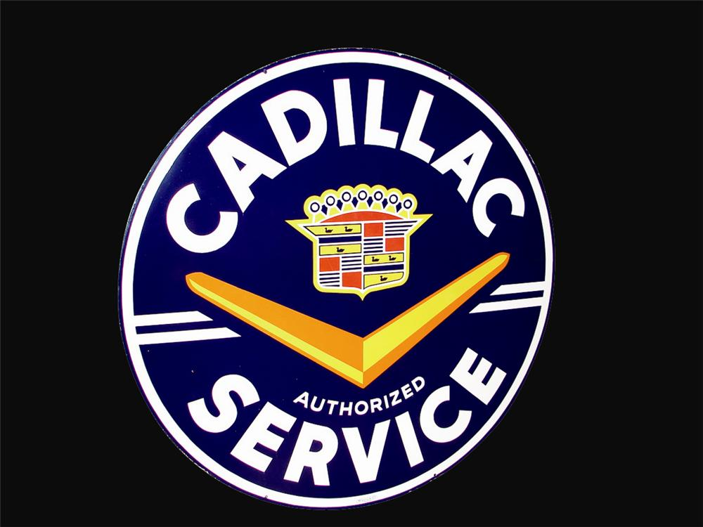 Extremely scarce 1950s Cadillac Service dealership porcelain sign. - Front 3/4 - 62257