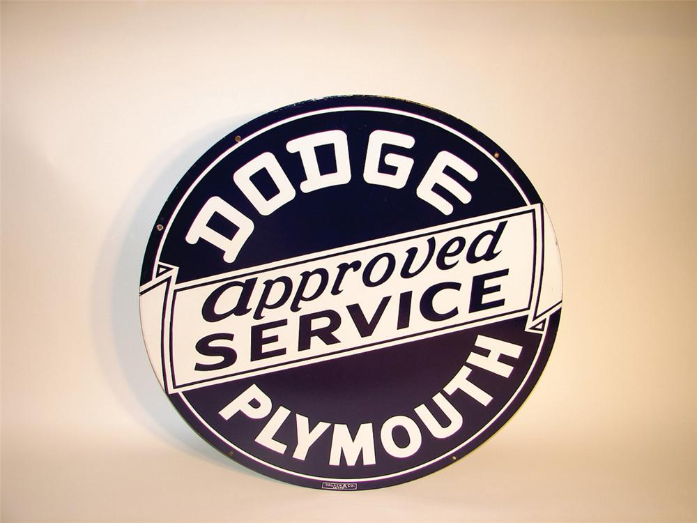 Killer late 40s-early 50s Dodge -Plymouth Approved Service double-sided porcelain dealership sign. - Front 3/4 - 62265