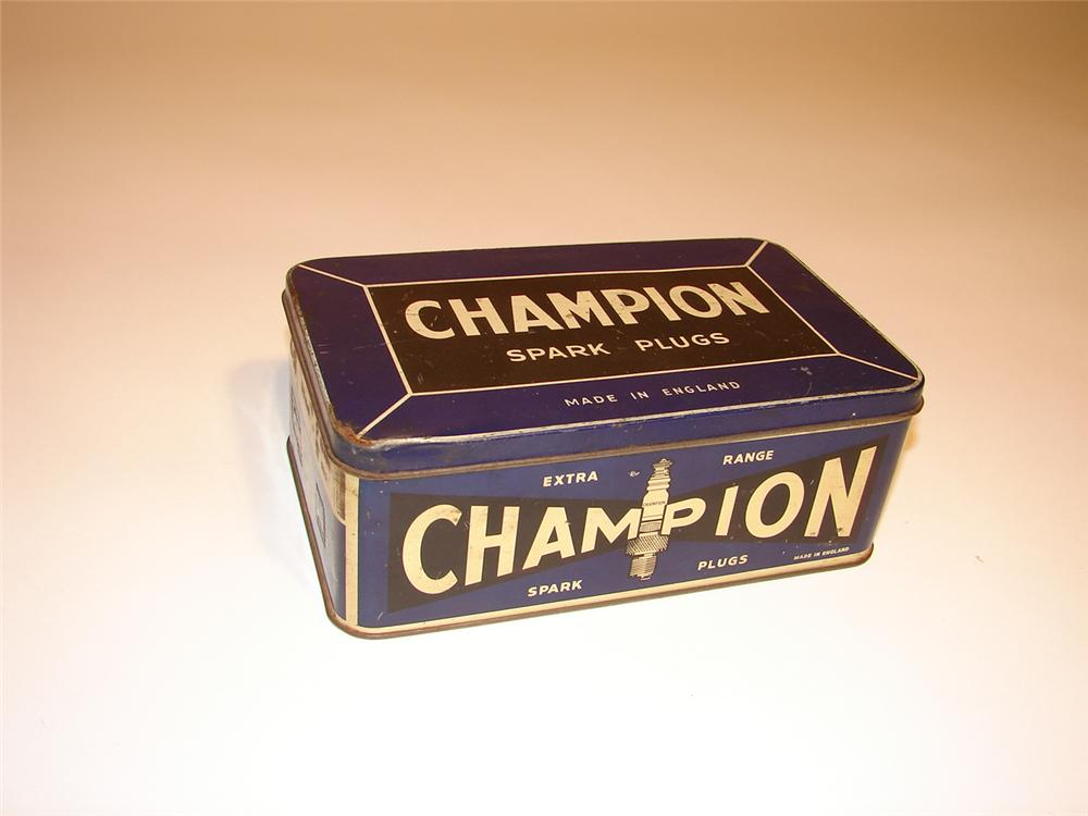 1930s Champion Spark Plugs counter-top display tin. - Front 3/4 - 62474
