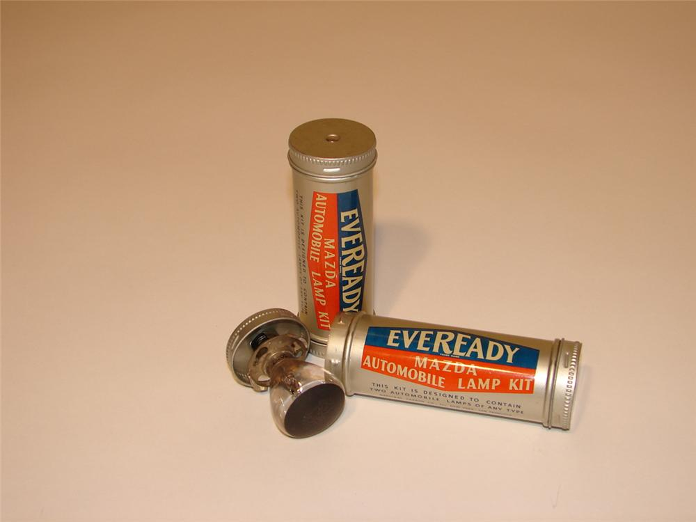 Lot of two N.O.S. 1930s Mazda Eveready Emergency Automobile lamp tins. - Front 3/4 - 62475