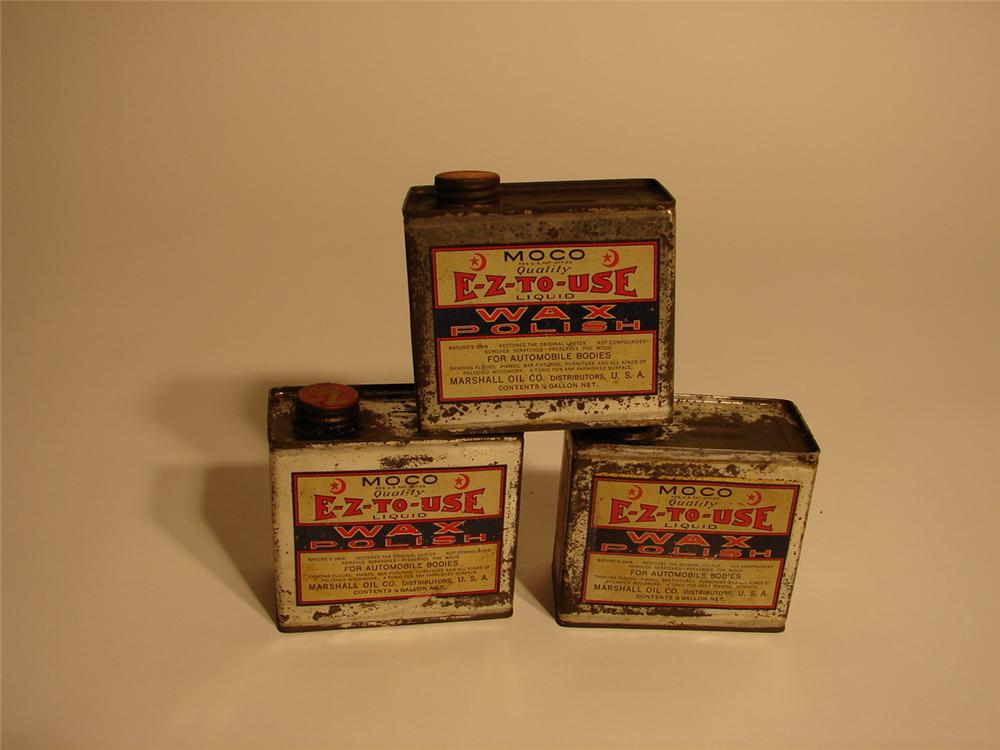 Lot of three N.O.S. 1920s Moco Automobile Wax tins. - Front 3/4 - 62476