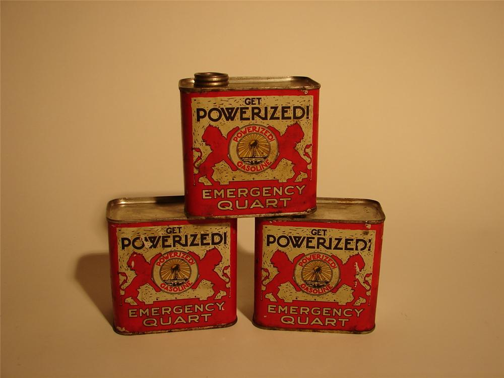 "Lot of three 1920s Sunburst Refinery ""Powerized Gasoline"" Emergency solder seemed quarts. - Front 3/4 - 62477"