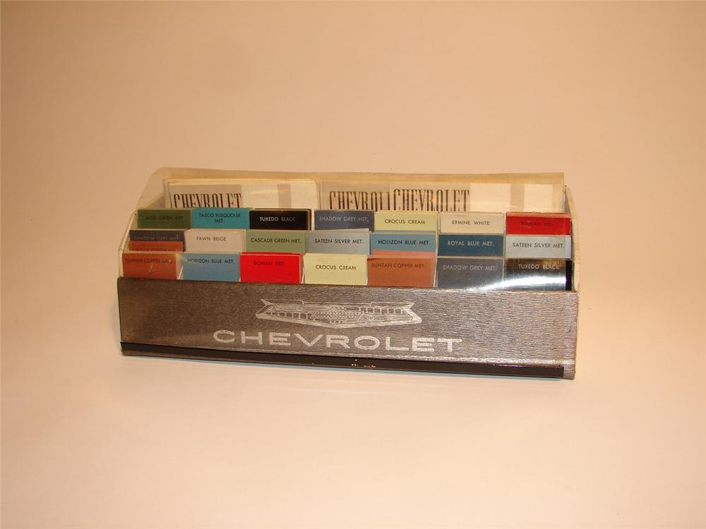 N.O.S. 1960 Chevroleet dealership showroom paint color sample display. - Front 3/4 - 62485