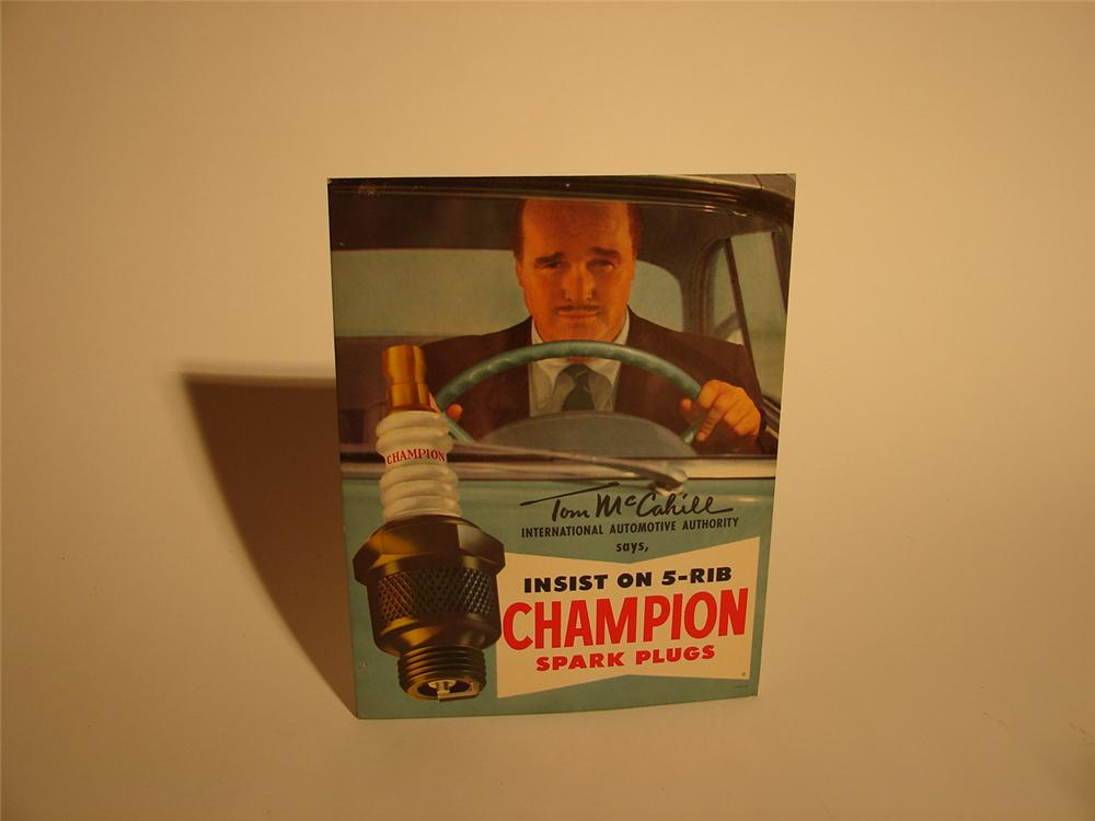 "N.O.S. late 50s Champion Spark Plugs easel-backed counter-top station cardboard featuring period Automotive Authority ""Tom M... - Front 3/4 - 62491"