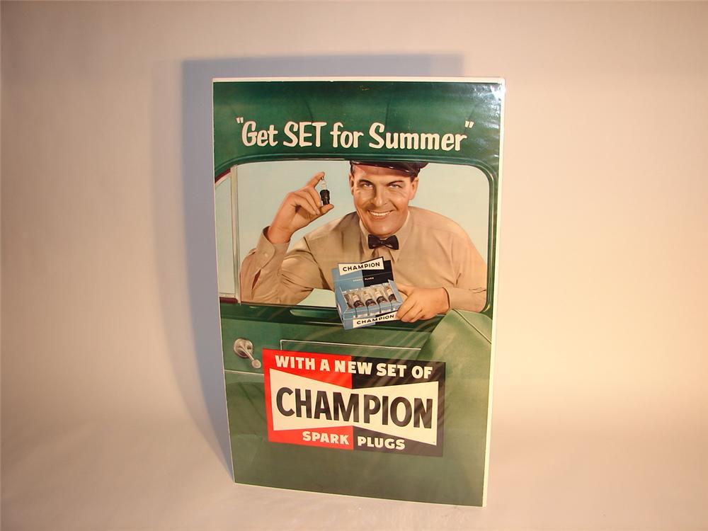 Late 40s-early 50s Champion Spark Plugs station poster. - Front 3/4 - 62492