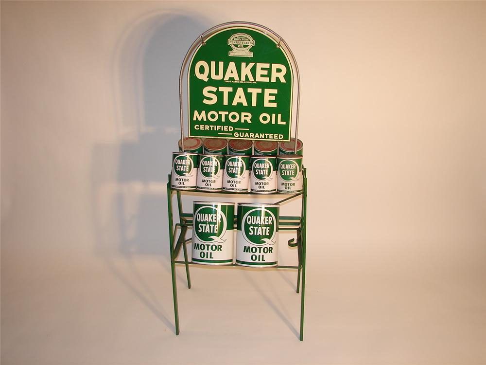 Unbelievable 1937 Quaker State Motor Oil oil can rack complete with original Quaker State metal quart cans. - Front 3/4 - 62493