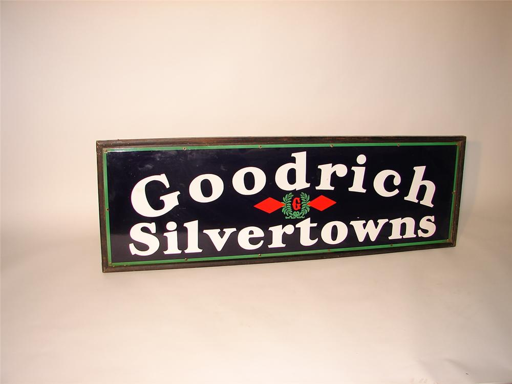 Outstanding 1930s Goodrich Silvertowns horizontal porcelain garage sign in original wood frame. - Front 3/4 - 62524