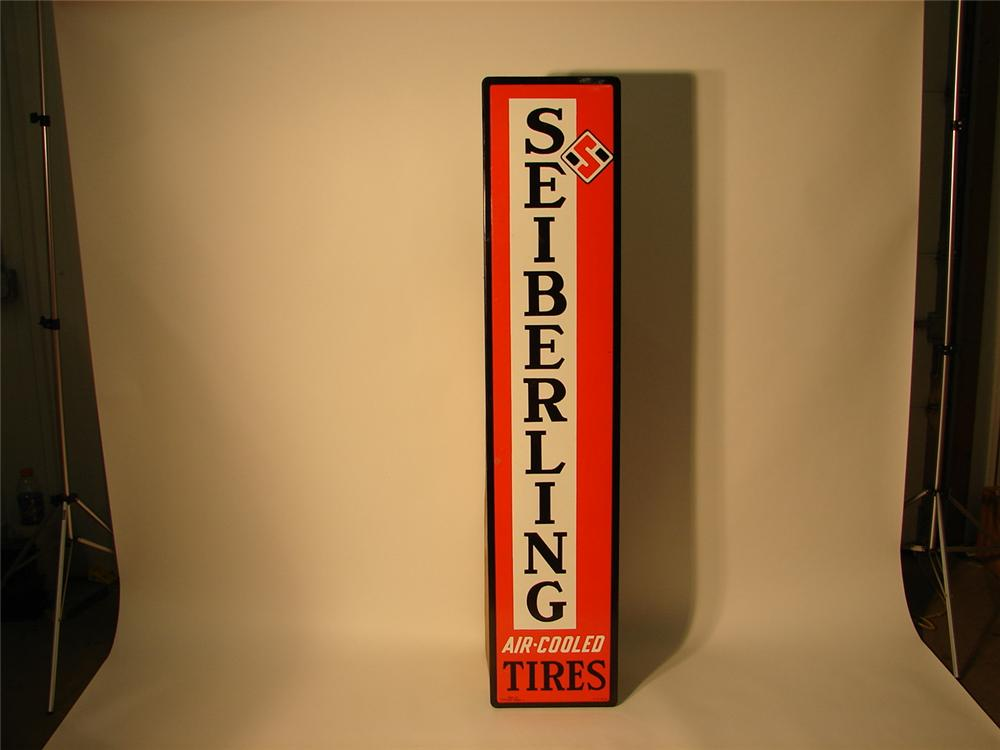 Fabulous 1940s Sieberling Tires vertical porcelain garage sign. - Front 3/4 - 62525