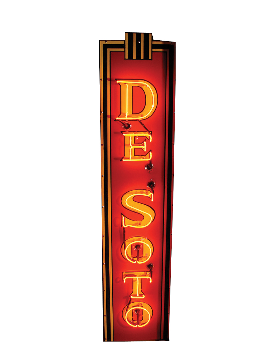 Stylish - 1940s De Soto single-sided neon porcelain dealership sign. - Front 3/4 - 62530
