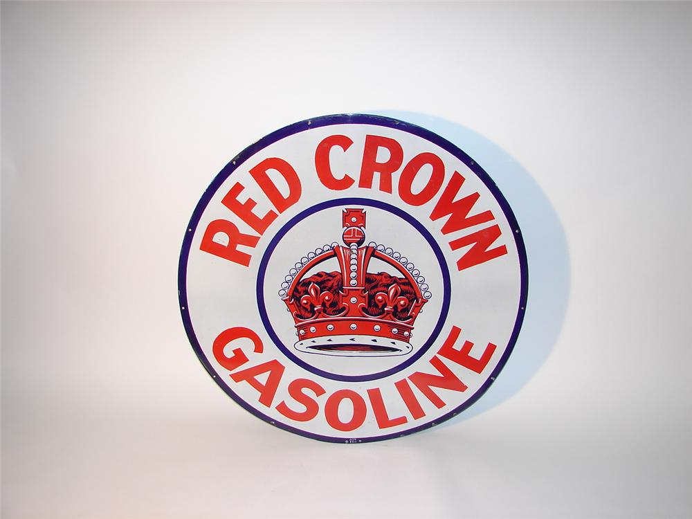Distinctive 1930s Standard Red Crown gasoline single-sided porcelain station sign. - Front 3/4 - 62532
