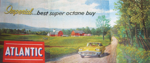 Incredible N.O.S. 1958 Atlantic Gasoline billboard featuring a 1958 Ford Thunderbird racing across a rural highway. - Front 3/4 - 62536