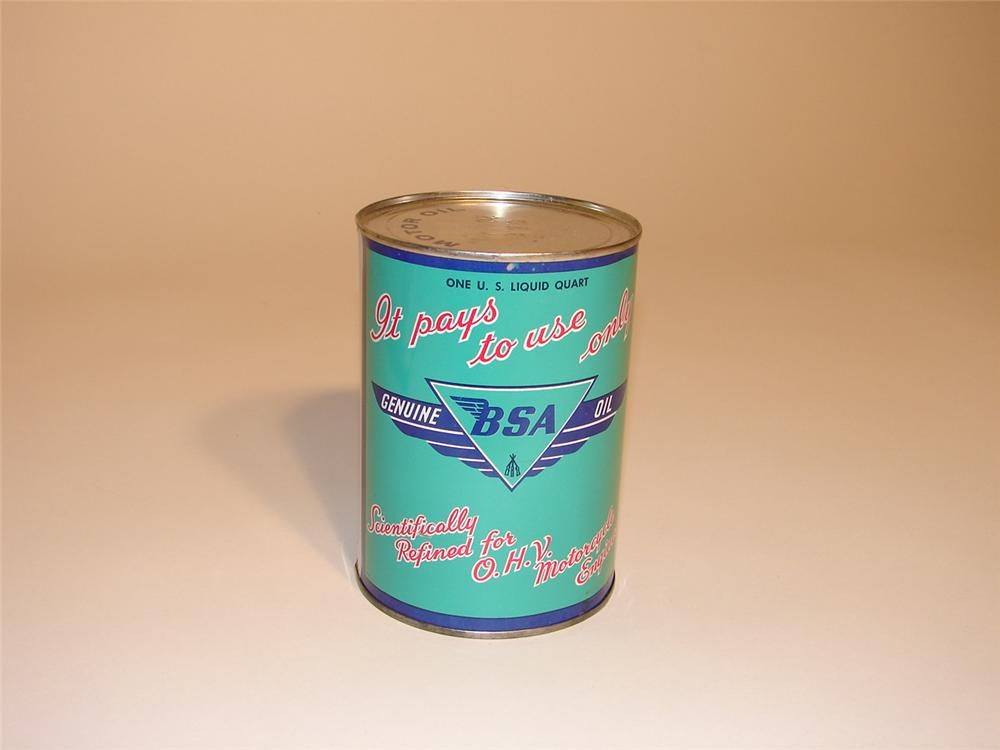 Cool 1950s BSA Motor Cycle Engine Oil metal quart can. - Front 3/4 - 62552