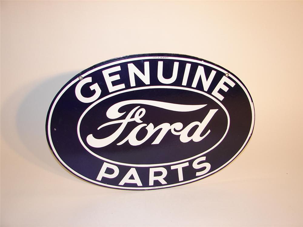 Outstanding 1930s Ford Genuine Parts double-sided porcelain dealership sign. - Front 3/4 - 62559