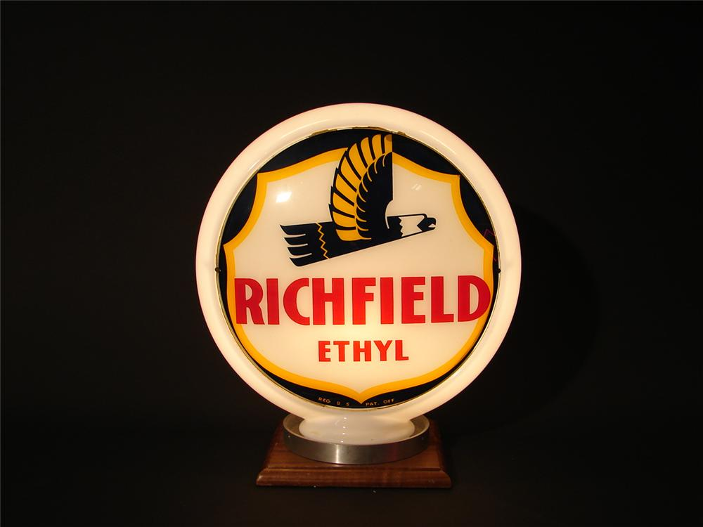 Scarce late 40s-early 50s Richfield Ethyl narrow bodied gas pump globe. - Front 3/4 - 62564