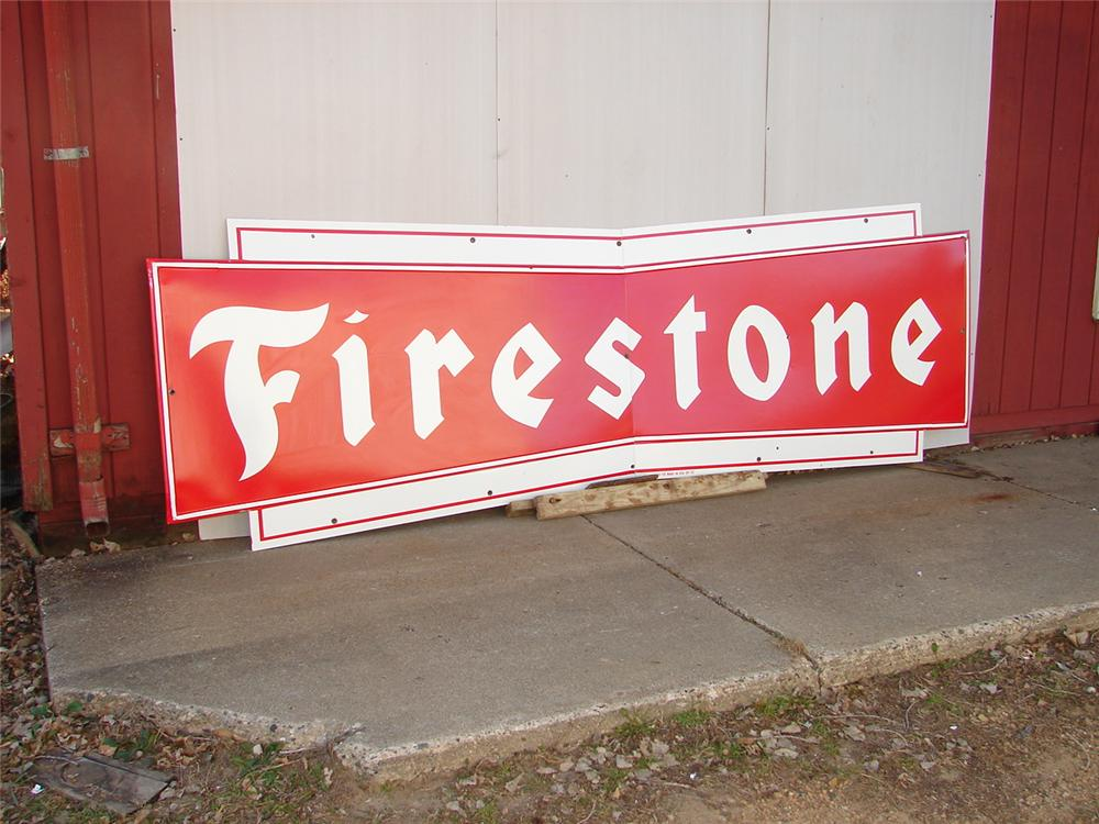 Very clean late 50s Firestone Tires single-sided porcelain station sign. - Front 3/4 - 62567