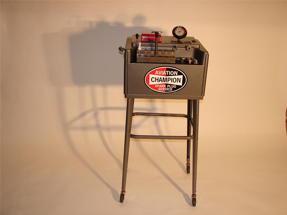 Choice late 50s-early 60s Champion Aviation Spark Plug service cleaner on stand. - Front 3/4 - 62569