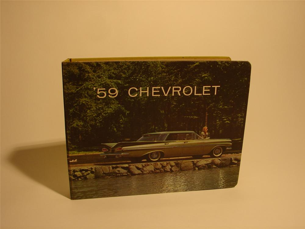 Choice 1959 Chevrolet showroom sales dealer book.  Fabulous find covering the entire line-up including Corvette. - Front 3/4 - 62571