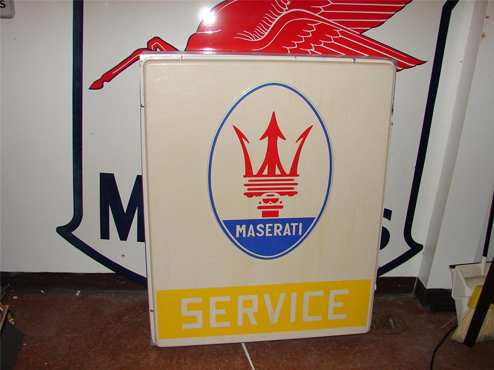 Very desirable 1960s-70s Maserati Service single-sided dealership sign in mounting can. - Front 3/4 - 62572