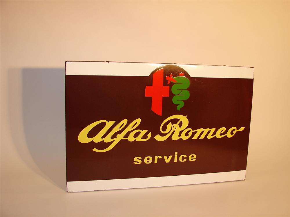 Museum quality late 50s-early 60s Alfa Romeo Service single-sided porcelain dealership sign. - Front 3/4 - 62573