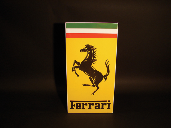 Authentic 1960s Ferrari Automobiles porcelain dealership sign. - Front 3/4 - 62575