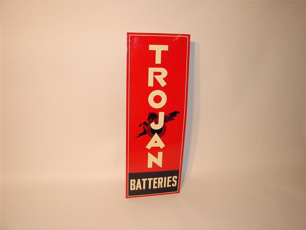 N.O.S. 1930s-40s Trojan Batteries single sided tin sign. - Front 3/4 - 62579