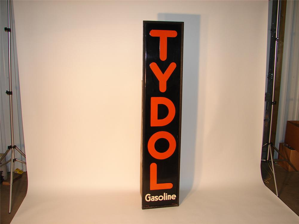N.O.S. 1937 Tydol Gasoline wood framed tin garage sign. - Front 3/4 - 62582
