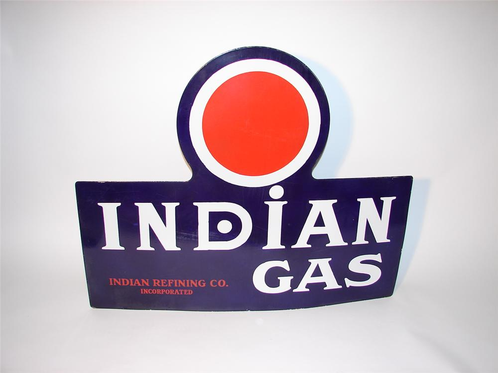 Incredible 1930s Texaco Indian Gasoline single-sided porcelain station sign. - Front 3/4 - 62584