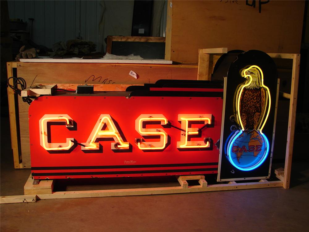 Rare 1930s-40s Case Tractors double-sided neon porcelain dealership sign. - Front 3/4 - 62588