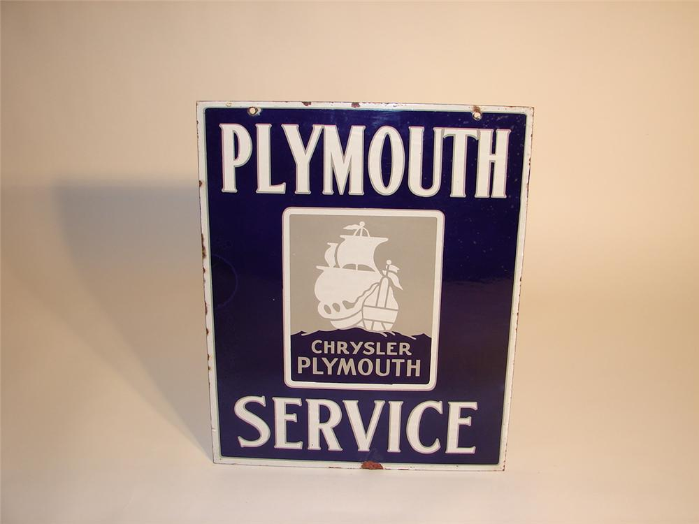 Very hard to find 1930s Chrysler Plymouth Service double-sided porcelain dealership sign with logo. - Front 3/4 - 62590