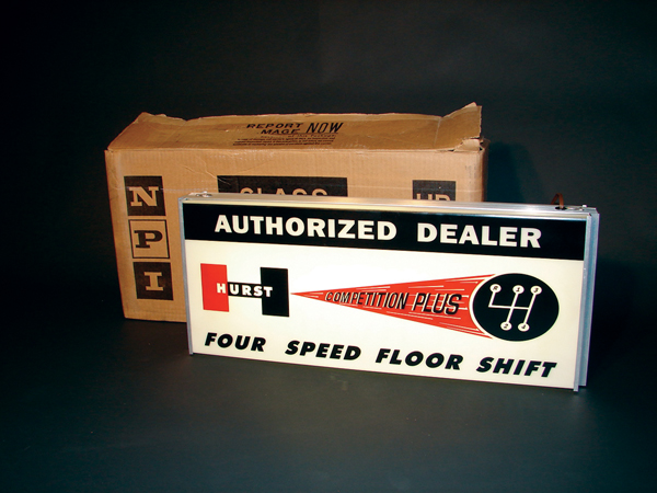 Spectacular NOS late 60s Hurst Shifters light-up dealership sign still in the original box. - Front 3/4 - 62593