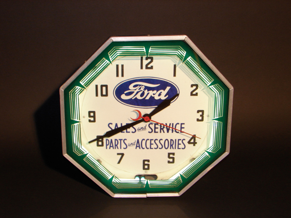 Amazing 1930s Ford Sales and Service neon dealership clock. - Front 3/4 - 62594
