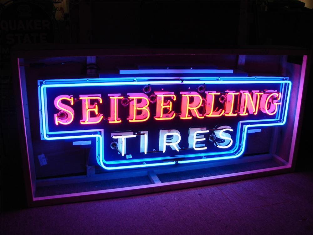 Pristine 1930s Sieberling Tires single-sided porcelain neon garage sign. - Front 3/4 - 62599