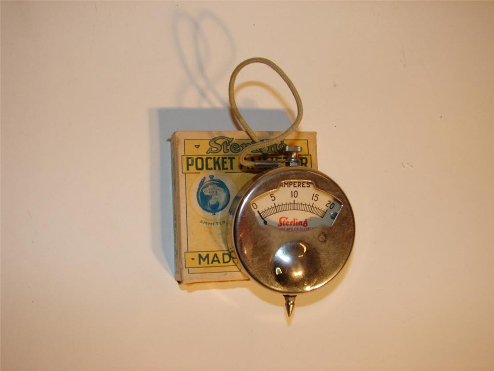 N.O.S. 1920s Sterling pocket automotive ammeter still in the original box. - Front 3/4 - 62668