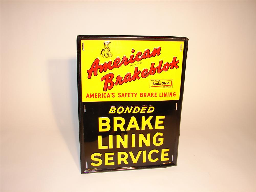 Neat late 50s-early 60s American Brakeblok embossed tin garage sign. - Front 3/4 - 62674