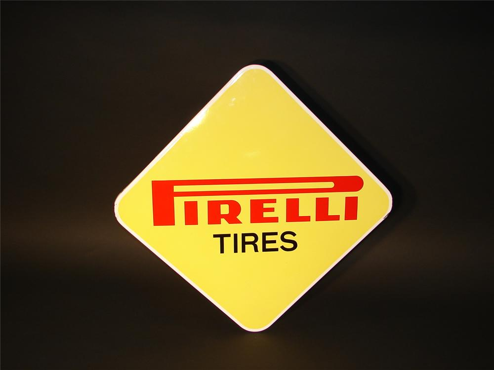 Late 60s Pirelli Tires single-sided porcelain garage sign. - Front 3/4 - 62679