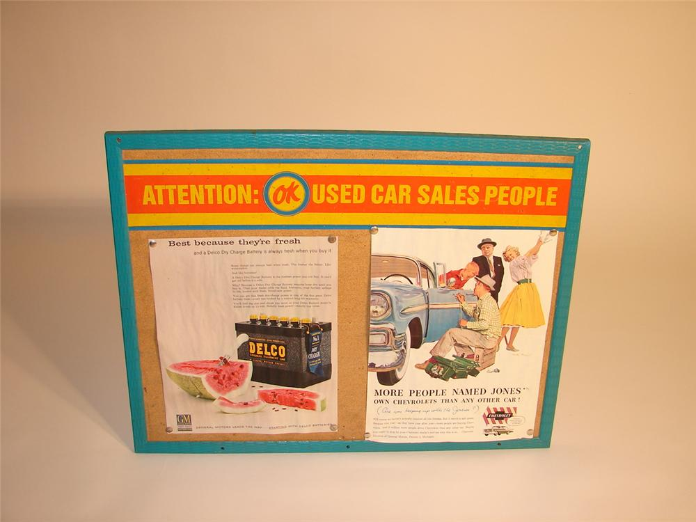 Remarkable N.O.S. late 50s-early 60s OK Used Cars dealership bulletin board. - Front 3/4 - 62684