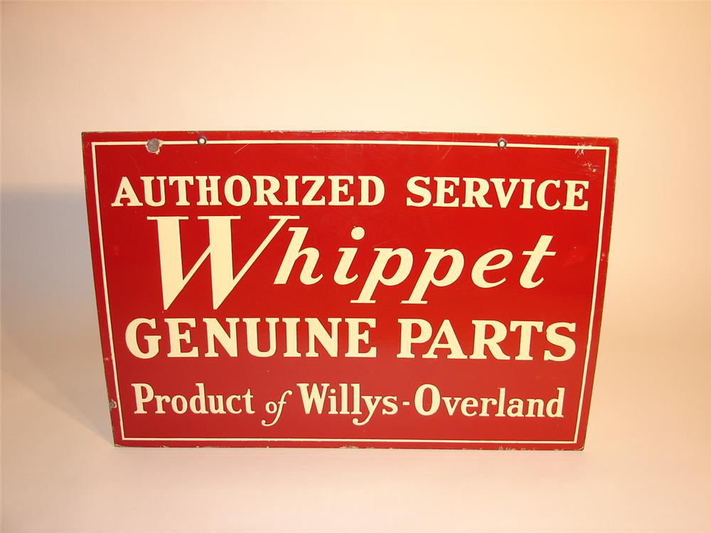 Hard to find 1930s Willys Whippet dbl-sided porcelain dealership sign. - Front 3/4 - 62687