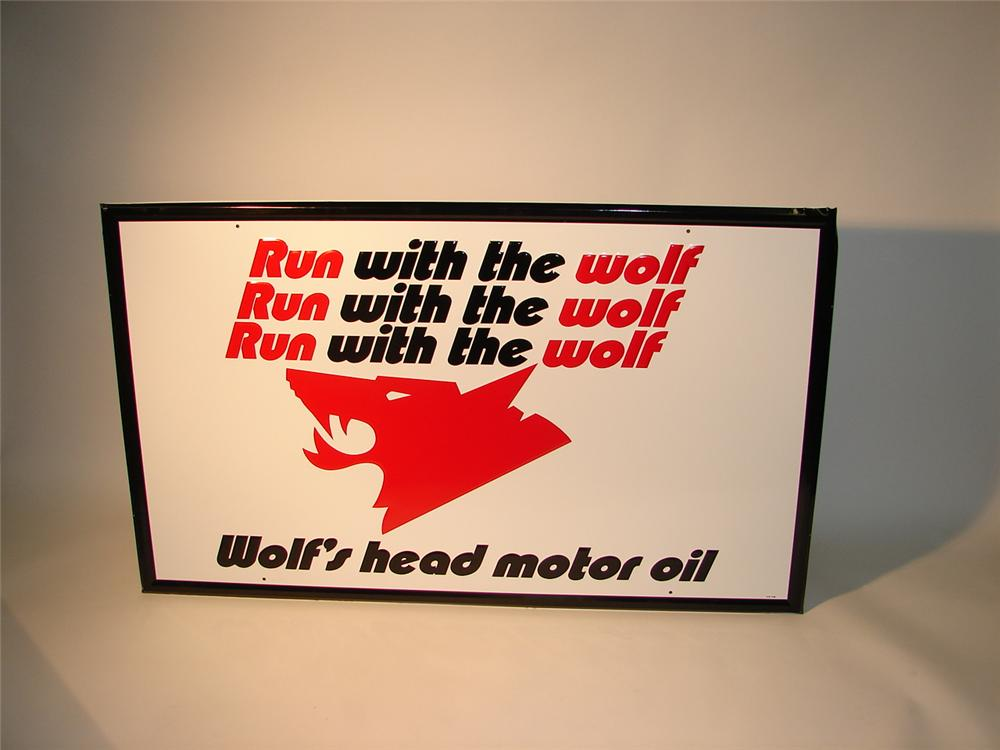 Large N.O.S. late 60s Wolfs Head wood-framed tin garage sign. - Front 3/4 - 62689