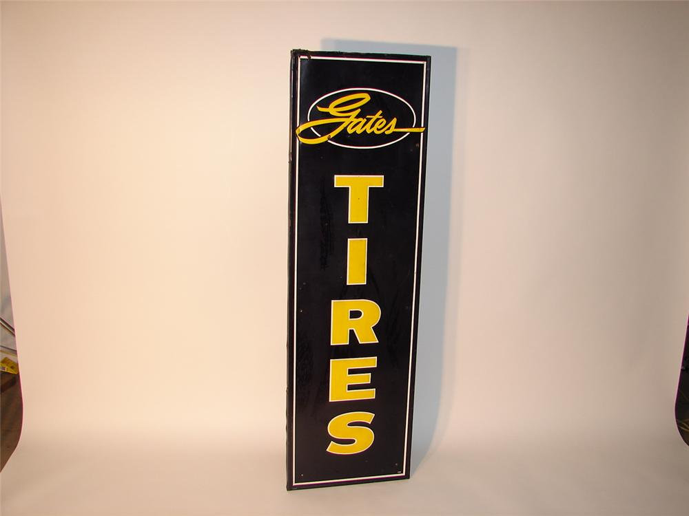 1950s Gates Tires self-framed tin vertical garage sign. - Front 3/4 - 62691